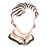 Stilfull ung affärsman med en härlig frisyr, i ett omslag och ett band vektor illustrationer