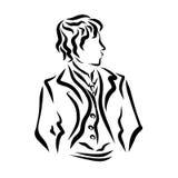 Stilfull ung man i en dräkt för berömmar stock illustrationer