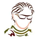 Stilfull ung man i exponeringsglas med långt krabbt hår, berlock stock illustrationer
