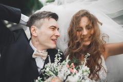 Stilfulla brölloppar, brud, ansar att kyssa och att krama på den retro bilen Arkivfoto
