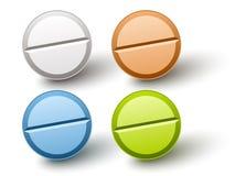 stilfulla kulöra pills Arkivbilder