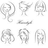 Stilfulla kvinnors frisyrer, mode, stock illustrationer