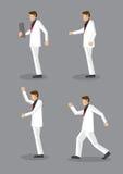 Stilfulla mäns mode i den vita dräkten och röd slips royaltyfri illustrationer