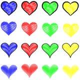 Stilfulla mångfärgade hjärtamodeller Royaltyfri Bild