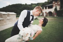 Stilfulla par av lyckliga nygifta personer som går i parkera på deras bröllopdag med buketten Royaltyfria Foton