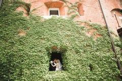 Stilfulla par av lyckliga nygifta personer som går i parkera på deras bröllopdag med buketten Arkivbilder