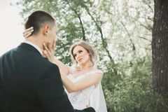 Stilfulla par av lyckliga nygifta personer som går i parkera på deras bröllopdag med buketten Royaltyfria Bilder