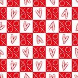 Stilfulla röda och vita rutiga hjärtor och sömlös vektormodell för kramar och för kyssar Utmärkt för valentindag, bröllop vektor illustrationer
