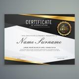 stilfullt certifikat av gillandeutmärkelsemallen i svart och royaltyfri illustrationer