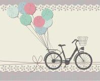 Stilfullt hälsningkort med den retro cykeln Royaltyfria Bilder
