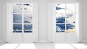 Stilfullt tomt rum med panorama- fönsternärbild, klassiska slutare, klassisk balkong bl? molnig sky Vit bakgrund med kopian royaltyfria foton