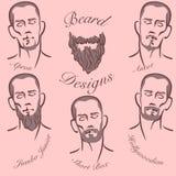 Stili dei baffi e della barba Immagini Stock Libere da Diritti