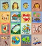 Stili del disegno dei bambini Insieme di simboli con la famiglia umana Fotografia Stock Libera da Diritti