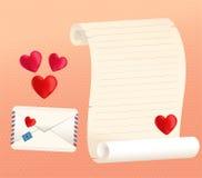 Stili del rotolo e della busta della lettera di amore con i cuori Fotografia Stock