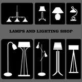 Stili delle lampade Interni domestici Vettore Lamrs elettricità Fotografie Stock Libere da Diritti