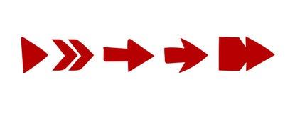 Stili di serie rossa della freccia della freccia di vettore vari rossi sul vettore bianco illustrazione di stock