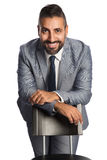 Stilig affärsman i grå färger Royaltyfria Bilder