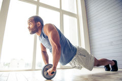 Stilig afro- amerikansk idrottsman Arkivfoton