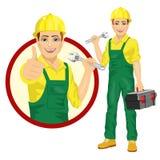 Stilig arbetare som rymmer den justerbara skiftnyckeln som bär den gröna enhetliga asken för hållande hjälpmedel stock illustrationer