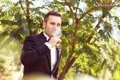 Stilig brudgumbröllopdag som ler och dricker vin eller champagne Arkivfoto