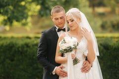 Stilig brudgumkram hans härliga brud slappt gå för fokusnygift personpark Kvinna för blont hår i elegant bröllopsklänning royaltyfri bild