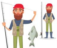 Stilig fisher, gladlynt tecknad filmtecken stock illustrationer