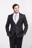 Stilig kontorsaffärsman med den iklädda eleganta dräkten för skägg, royaltyfri bild