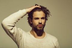 Stilig man med skägget och stilfullt hår, morgon och mode royaltyfri foto