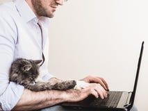 Stilig man och gullig kattunge arkivbild