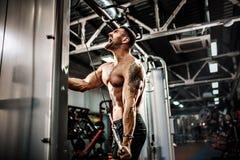 Stilig muskulös konditionkroppsbyggare som gör tungviktövningen för triceps Fotografering för Bildbyråer