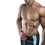 Stilig muskulös kroppsbyggare som isoleras på vit bakgrund royaltyfria bilder