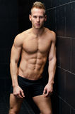 Stilig muskulös shirtless benägenhet för ung man mot den belade med tegel väggen Royaltyfri Bild