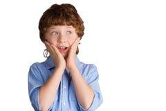 Stilig pojke med förvånat ansiktsuttryck Royaltyfri Foto