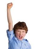 Stilig pojke som firar seger Arkivbilder