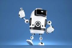 Stilig robot 3D med VR-exponeringsglas illustration 3d Innehåller den snabba banan Royaltyfri Foto