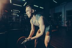 Stilig weightlifter som förbereder sig för utbildning tonad bild royaltyfri bild