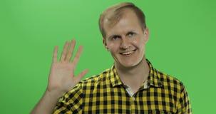 Stiliga caucasian manvågor och salutera på grön skärmchromatangent royaltyfri foto