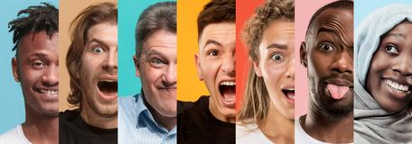 Stiliga män och kvinnor som ser förvånade och lyckliga arkivbild