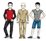 Stiliga män som står bärande trendig tillfällig kläder vektor Royaltyfri Fotografi