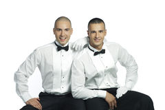 stiliga män som ler två Arkivfoto