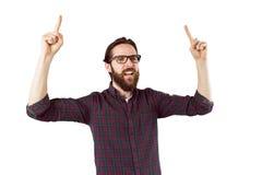 Stiligt bifall och peka för hipster fotografering för bildbyråer