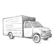 stiligt för bakgrundsaskleverans som isoleras över servicewhitearbetare Hand tecknad lastbil Royaltyfria Bilder