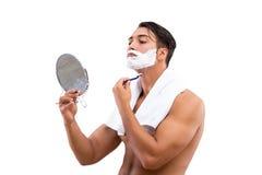 Stiligt raka för man som isoleras på vit bakgrund royaltyfri bild