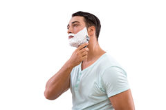 Stiligt raka för man som isoleras på vit bakgrund fotografering för bildbyråer