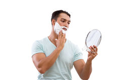 Stiligt raka för man som isoleras på vit bakgrund royaltyfria foton