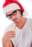 stiligt tänkande slitage för hattman s santa royaltyfria bilder