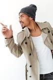 Stiligt ungt afrikanskt peka för man Arkivfoton
