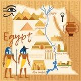 Stiliserad översikt av Egypten med olika kulturella objekt och gränsmärken vektor illustrationer