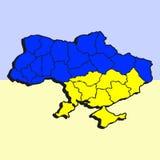Stiliserad översikt av Ukrain i blått- och gulingfärger vektor illustrationer