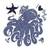 Stiliserad bild av en bläckfisk Arkivfoto